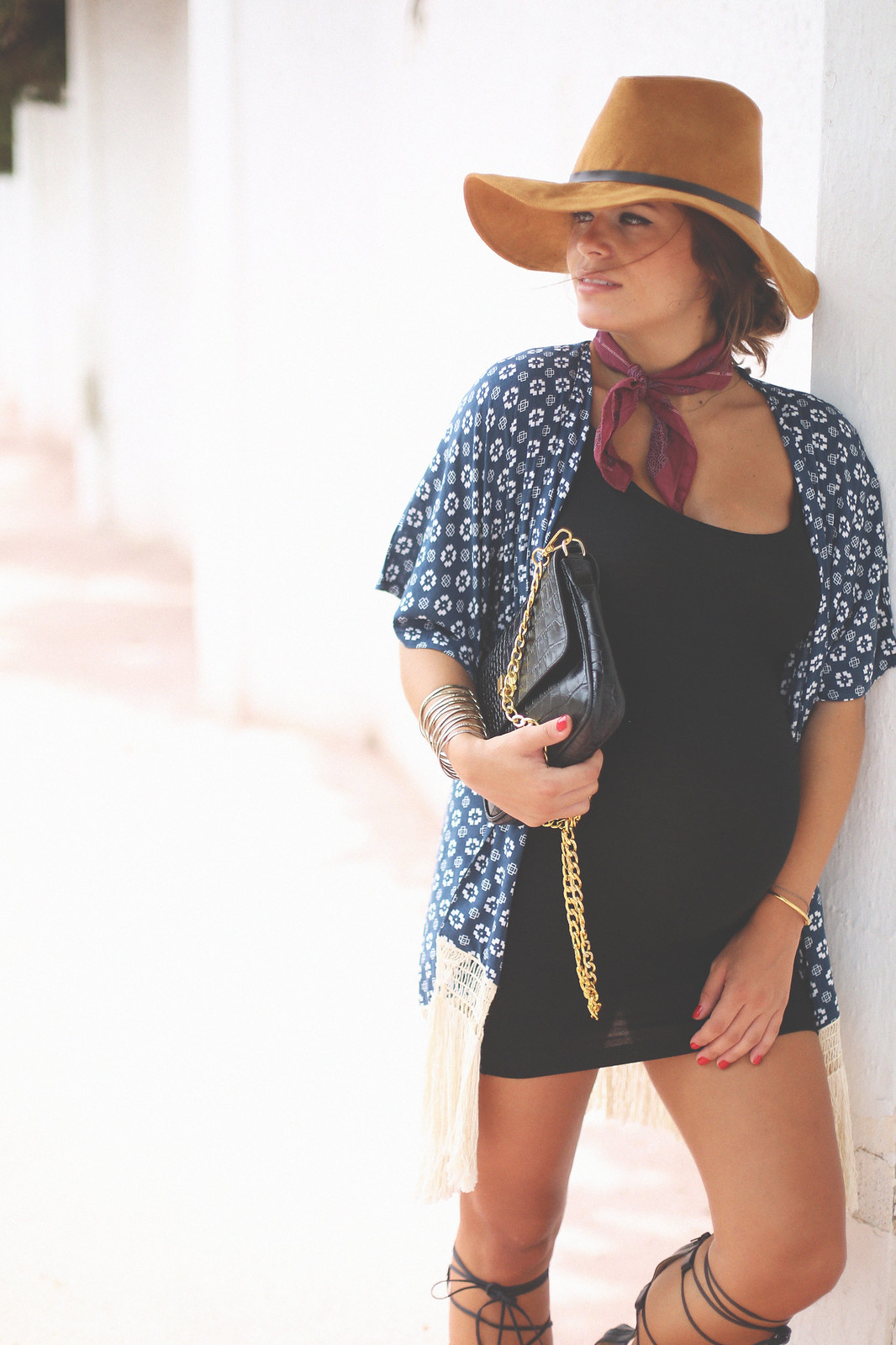 9. tassels printed boho kimono black bodycon dress gladiator sandals