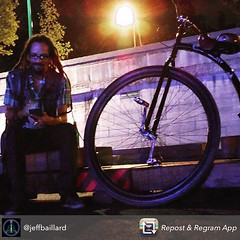 """Let's ride! ""...Nice party with my man JeeB and Twaly :man_with_turban::notes:  #France #Paris #exXÒs #night #party #live :tada: #bicycle @jeffbaillard @twaly ThanxX !!"