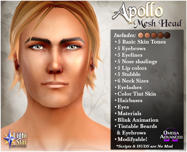 *LightStar Mesh Head - Apollo - SecondLifeHub.com