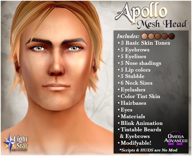 *LightStar Mesh Head - Apollo - SecondLifeHub.com