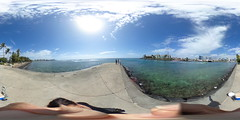 Fishing off the pier at Kewalo Basin Beach Park in Honolulu - a 360° Equirectangular VR