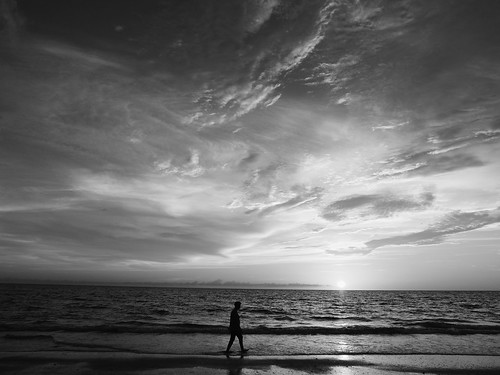 sunset blackandwhite beach monochrome waves florida indianrocksbeach