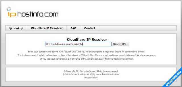 Result Search IP behind Cloud Flare by iphostinfo