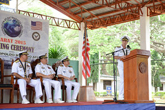 Rear Adm. William Merz, commander of Task Force 74, delivers remarks during the CARAT Philippines opening ceremony. (U.S. Navy/MC1 Jay Pugh)
