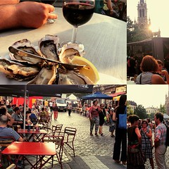 Every Thursday there's a food cart market on Le Parvis/the square & lots of people come out to drink and relax even more than usual. I had 6 AMAZING oysters from Normandy, the briniest I've ever had in my life. And, AND the sun doesn't set until 9:59PM. T