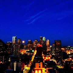 City view & moon #seattle