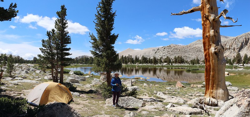 Our campsite at the edge of the pines near an unnamed Cottonwood Lake. Great views!
