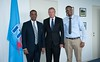 H.E. Mr Guled H. Kassim, Minister of Posts & Telecommunications of Somalia with Malcolm Johnson and Mr Abdirahman Nur, Managing Director at Somali Telecom Group - Geneva, 23 July 2015