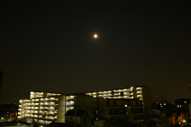 apartment and full moon
