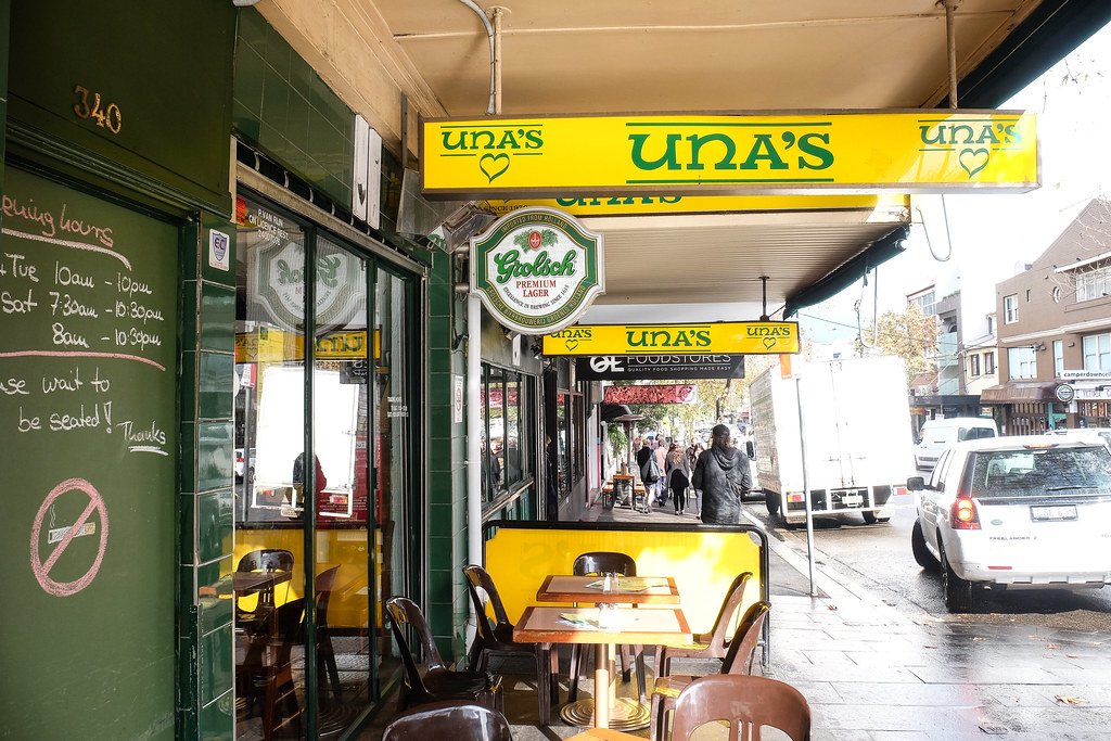 Darlinghurst Cafes; UNA'S Sign