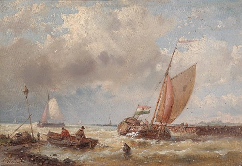 Abraham Hulk sen. - (London 1813-1897) Shipping on a choppy sea