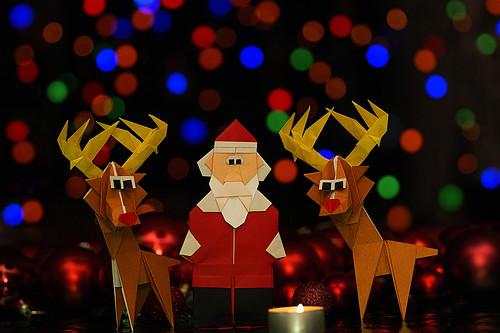 Origami Papá Noel/ Origami Santa Claus and Origami Reno/ Origami Reindeer (Carlos González Santamaría AKA Halle) : Merry Christmas - Frohe Weihnachten - Joyeux Noël - Feliz Navidad - Buon Natale