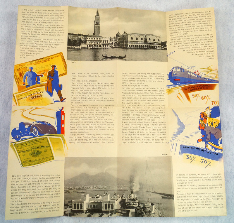 RD12158 Italy For Your Leisure 1939 Travel Brochure New York Worlds Fair Hand Out DSC08609