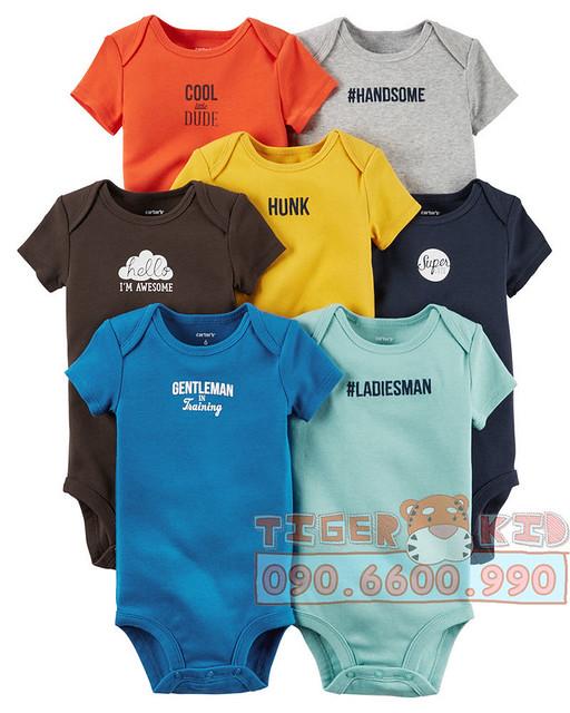 Quần áo trẻ em, bodysuit, Carter, đầm bé gái cao cấp, quần áo trẻ em nhập khẩu, Set 7 bodysuit Carters nhập Mỹ chính hãng