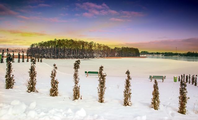 Snow and lake.