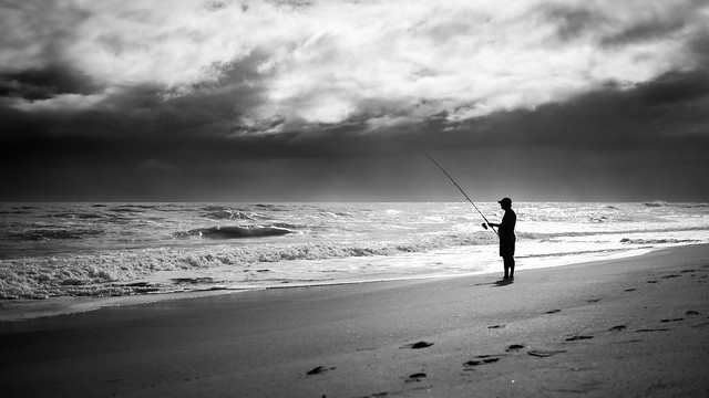 Fishing - Melbourne, Florida - Black and white street photography