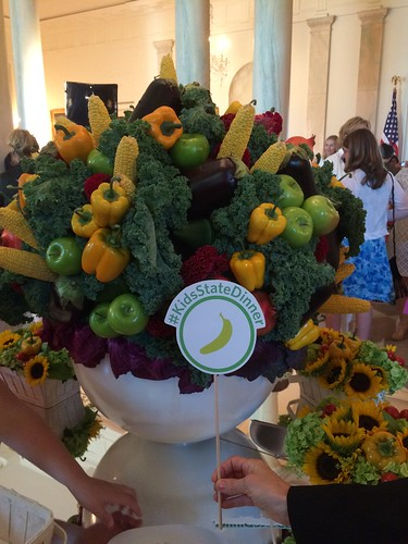 Colorful bouquets of fresh veggies and fruit