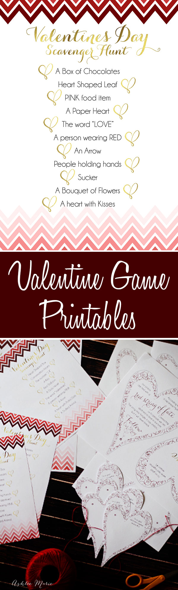 free printables for two versions of a valentines scavenger hunts