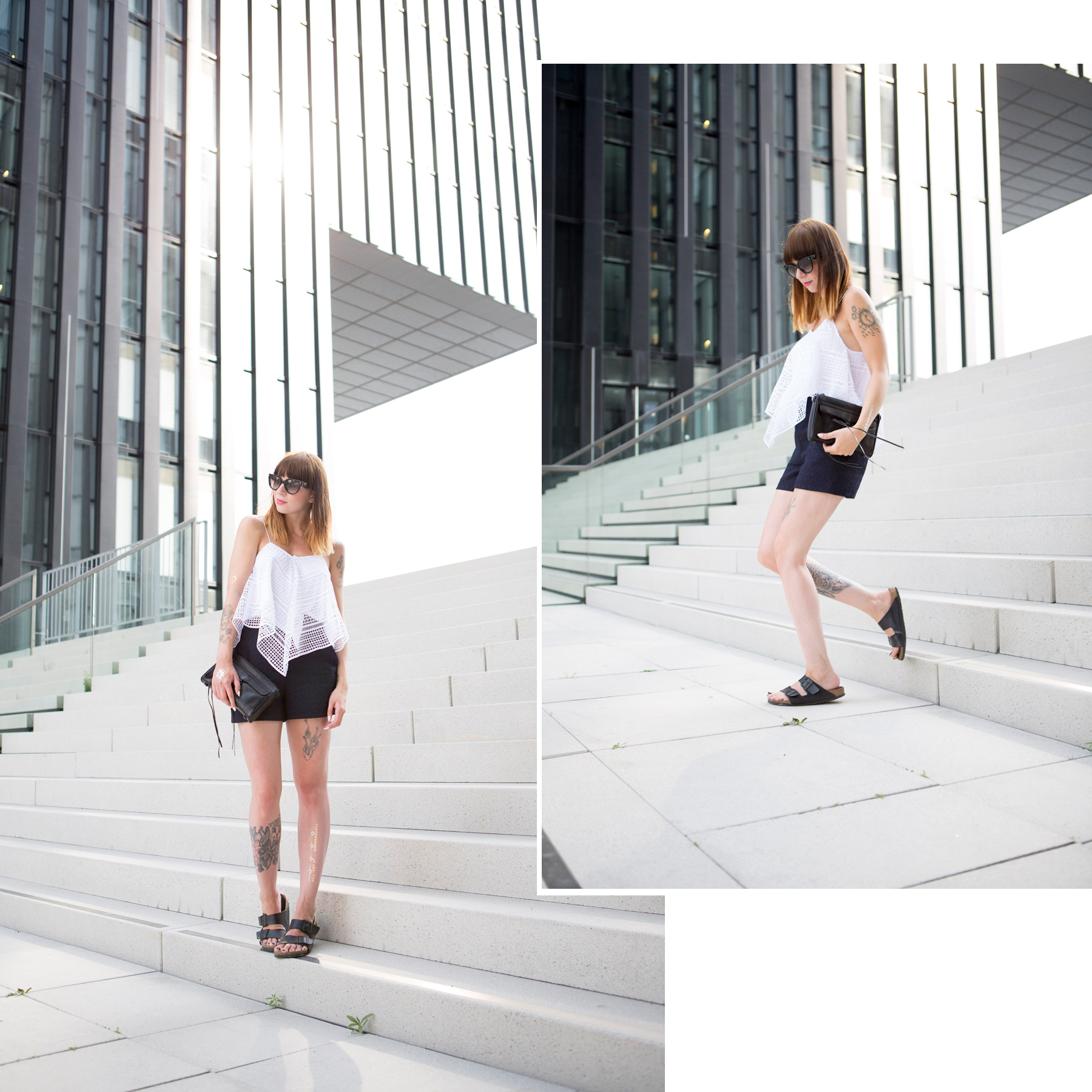 outfit zara crochet top dark navy shorts fashion week berlin ss 2016 ootd lookbook styling minimal rebecca minkoff birkenstock prada ricarda schernus cats & dogs blog 4
