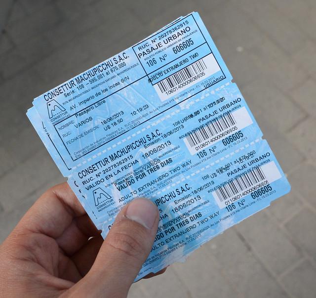Ticket de autobús para subir a Machu Picchu
