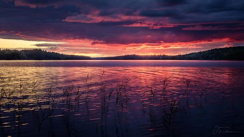 sunset clouds finland landscape nikon refraction kuhmo lentua kotaselkä
