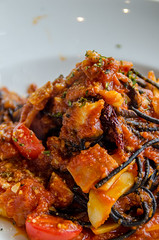Black spaghetti sauce, chili, seafood.