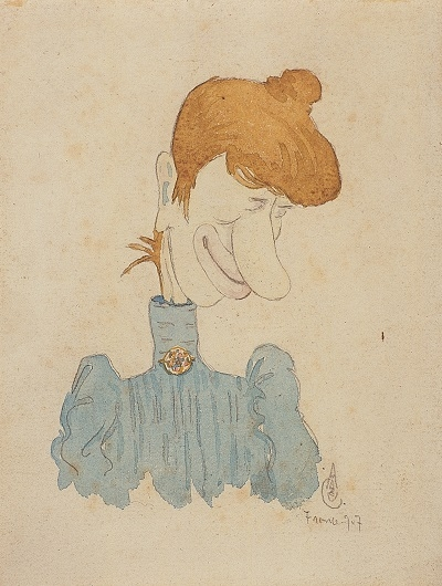 37.- Caricatura da Senhora de Azul, 1907. Aguarela e grafite sobre papel, Coleção particular em depósito no Museu Municipal amadeo de Souza-