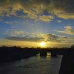 Sunset over a bridge at Preston