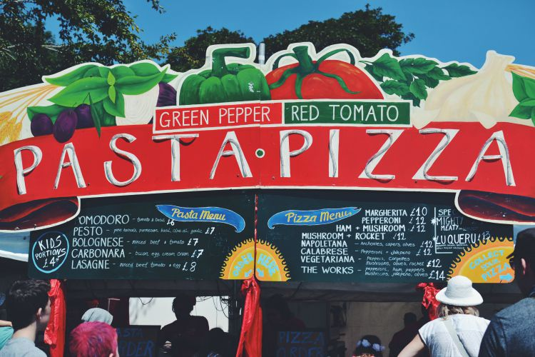 camp bestival pasta and pizza
