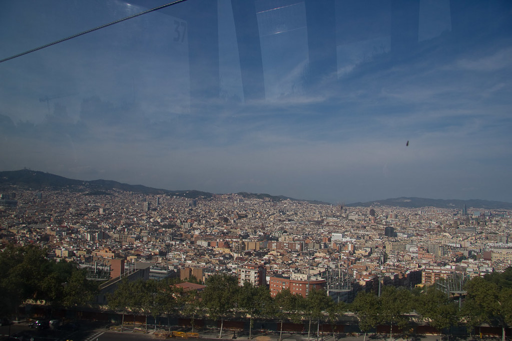 Views from cable car to Montjuic