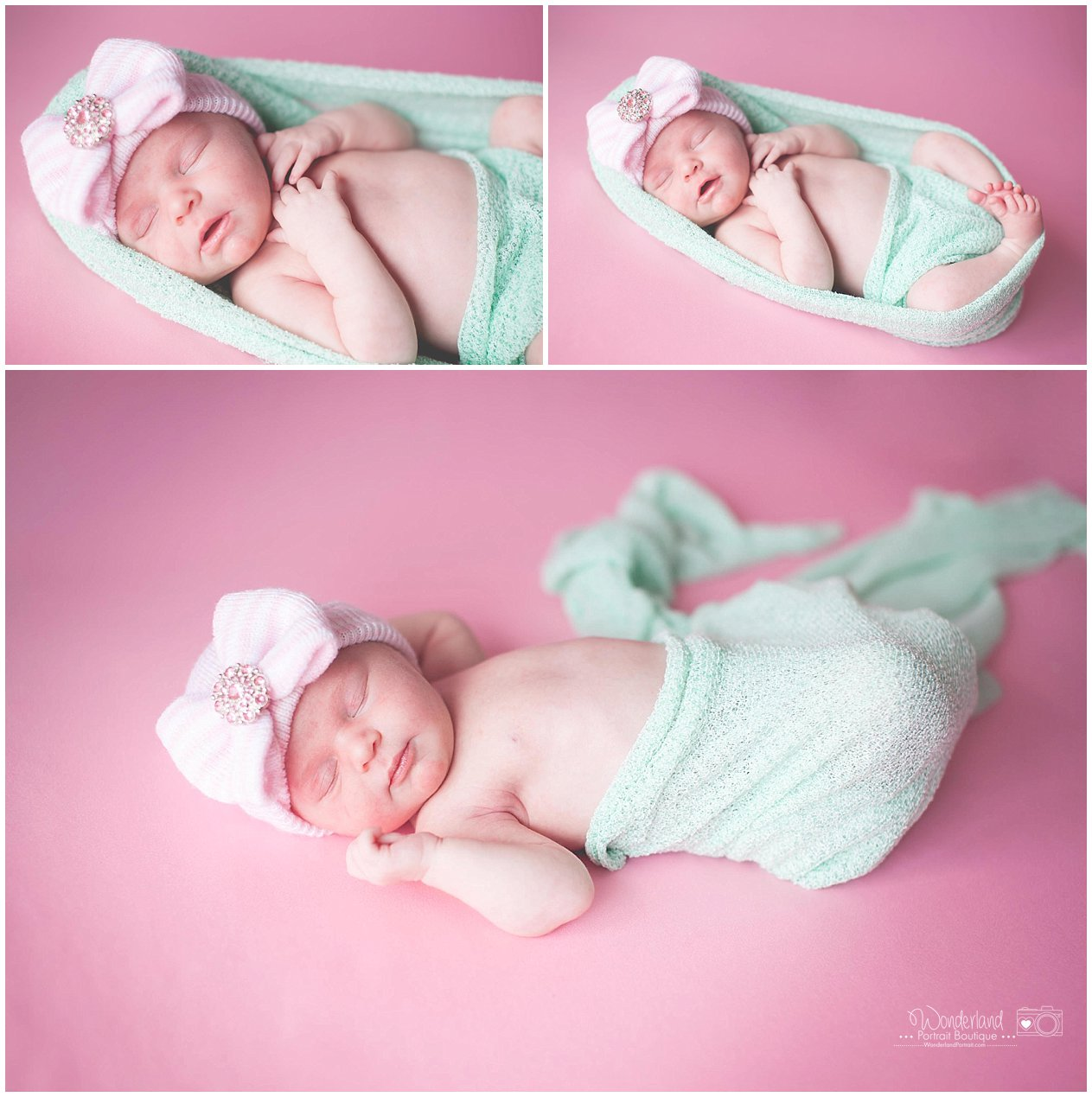 Newborn baby girl Green and Pink Creative Wrap pose ideas