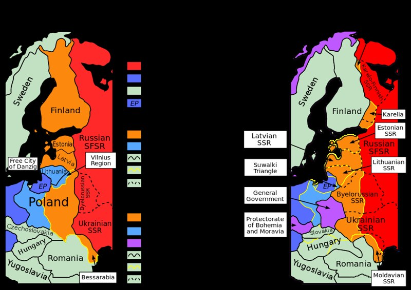 Planned and actual territorial changes in Central Europe by Molotov–Ribbentrop Pact
