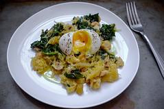 Kale and Turnip noodles, soft-boiled Egg