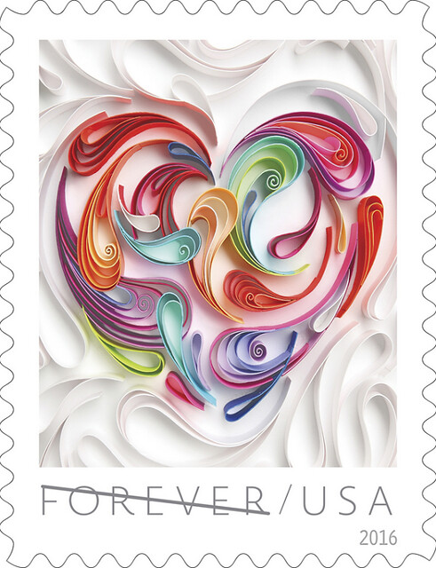 USPS Love Stamp 2016 - Quilled Paper Heart by Yulia Brodskaya