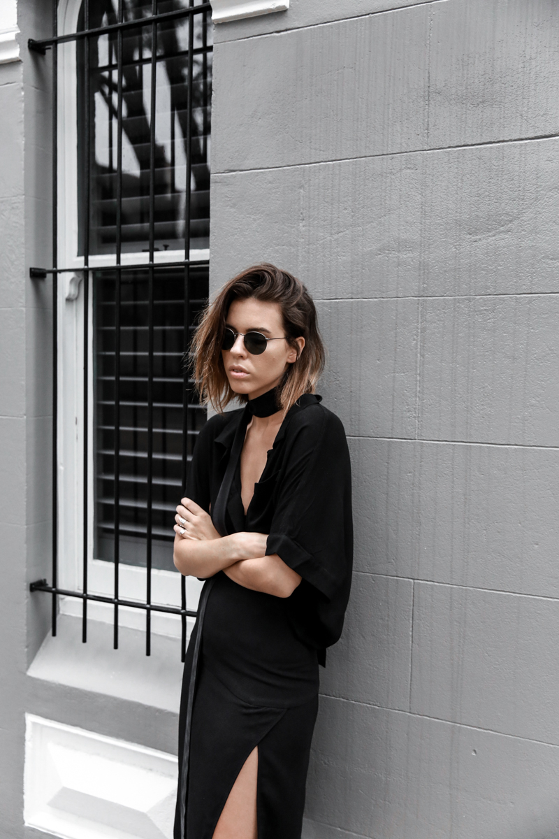 all black outfit, workwear, street style, skinny scarf, split skirt, Third Form, fashion blogger, modern legacy (1 of 1)-5