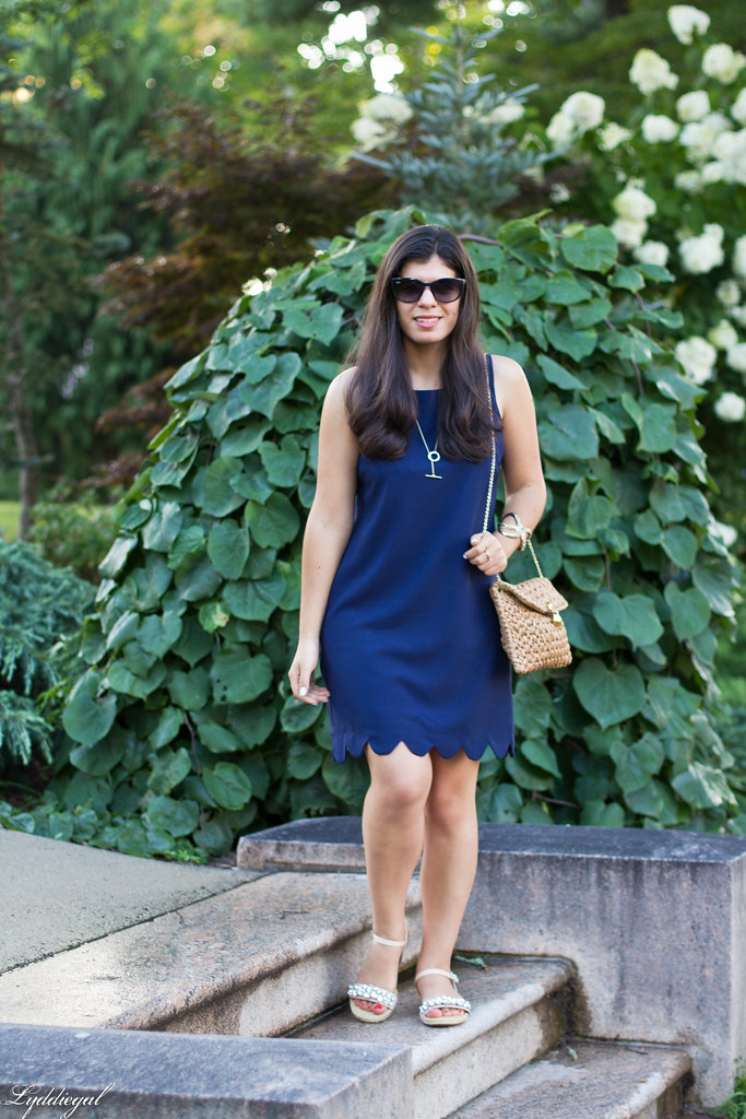 Navy scalloped hem shift dress, starfish cuff.jpg