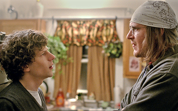 Jesse Eisenberg and Jason Segel are writers suppressing ego with self-consciousness in THE END OF THE TOUR.