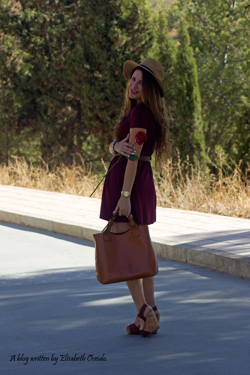 burgundy dress STRADIVARIUS MARYPAZ HEELSANDROSES (6)