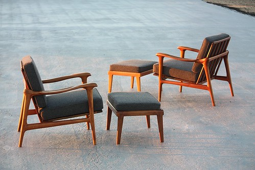 Impactful Danish Midcentury Modern Lounge Chairs plus Ottomans (1960s)