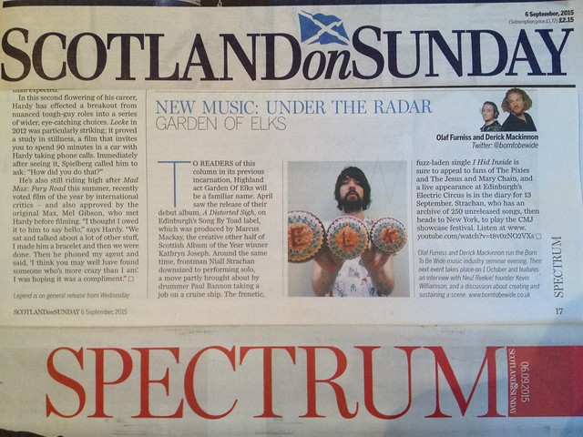 Olaf Furniss and Derick Mackinnon Scotland On Sunday, Spectrum Magazine, 6 September 2015, Garden of Elks