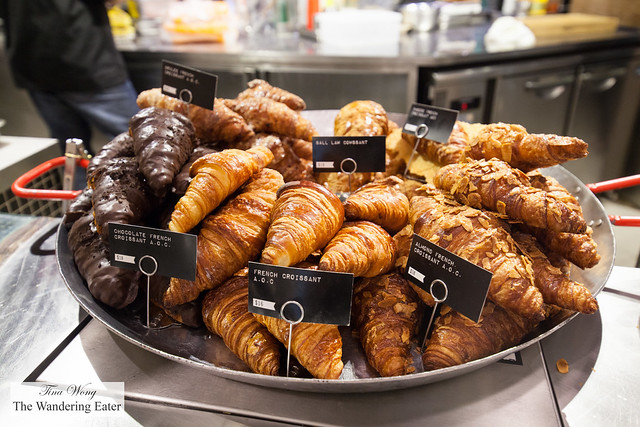 Huge pan of various croissants