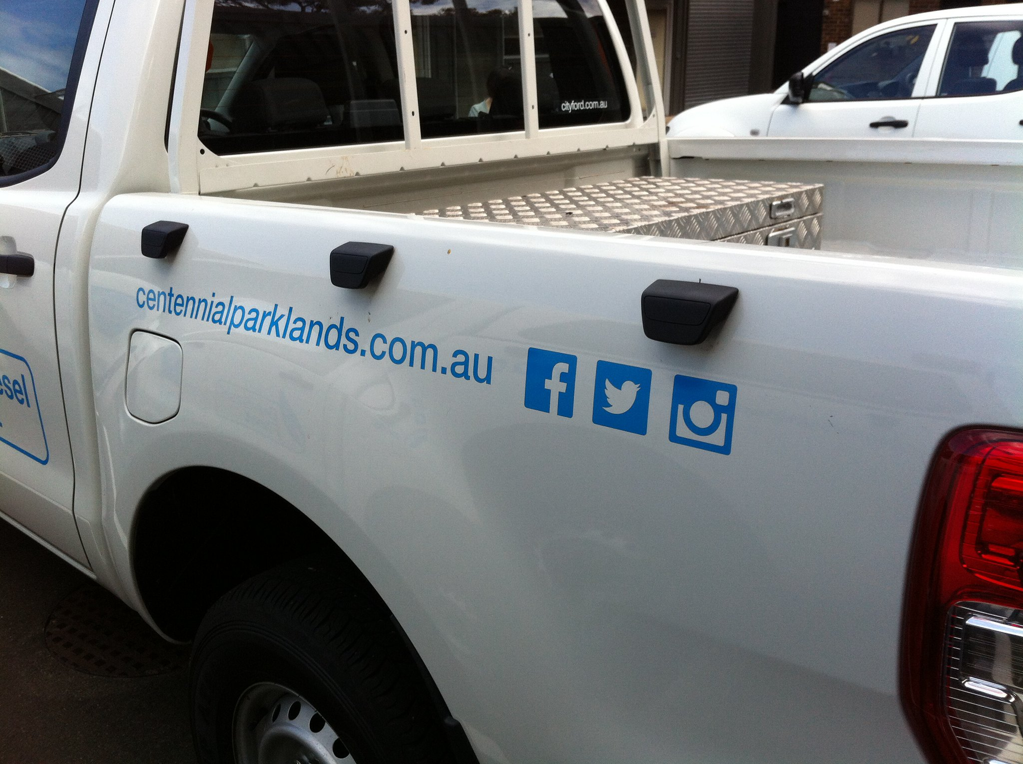 Centennial Parklands social media on truck