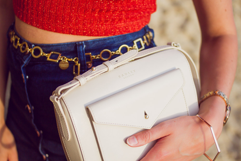 radley mini keats white bag chain belt denim