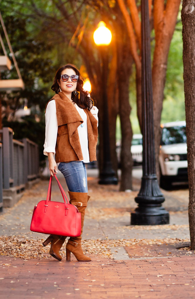 cute & little blog | petite fashion | suede vest, white button down shirt, distressed jeans, suede otk boots, red purse | fall outfit