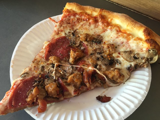 Salami, sausage and mushroom slice - Oz Pizza