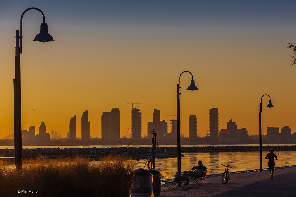 Glorious sunset over jogging/cycling path at Humber Bay from Marilyn Bell Park - Toronto
