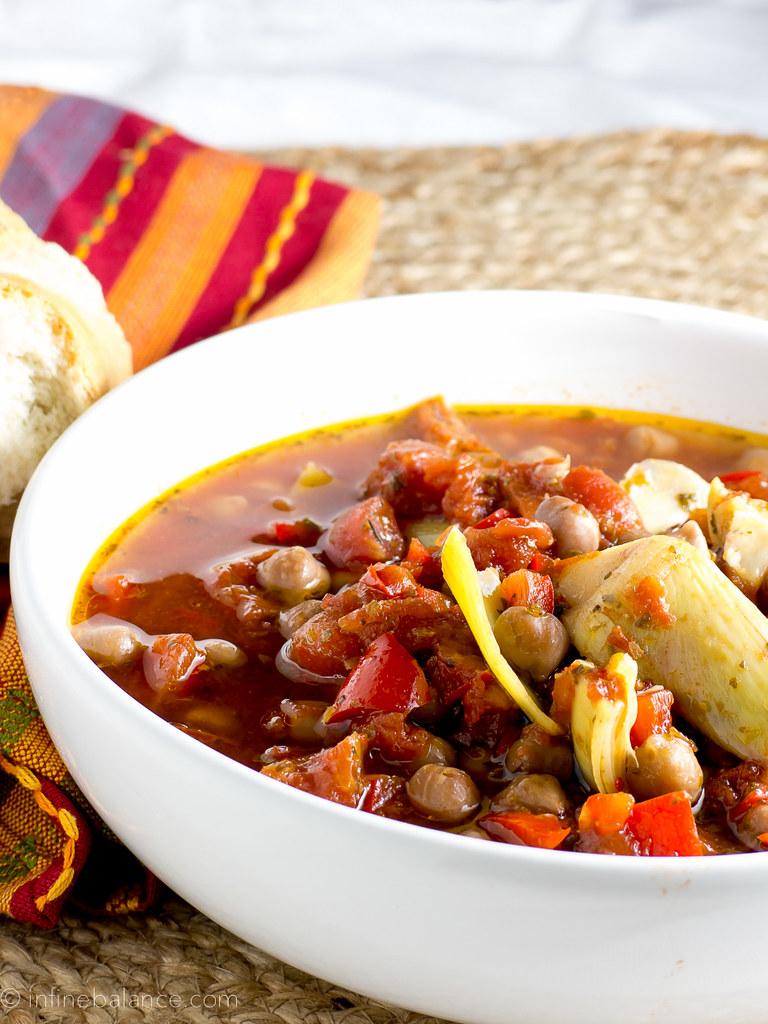 Chickpea Cacciatore slowcooker recipe quick meals food crockpot chickpeas