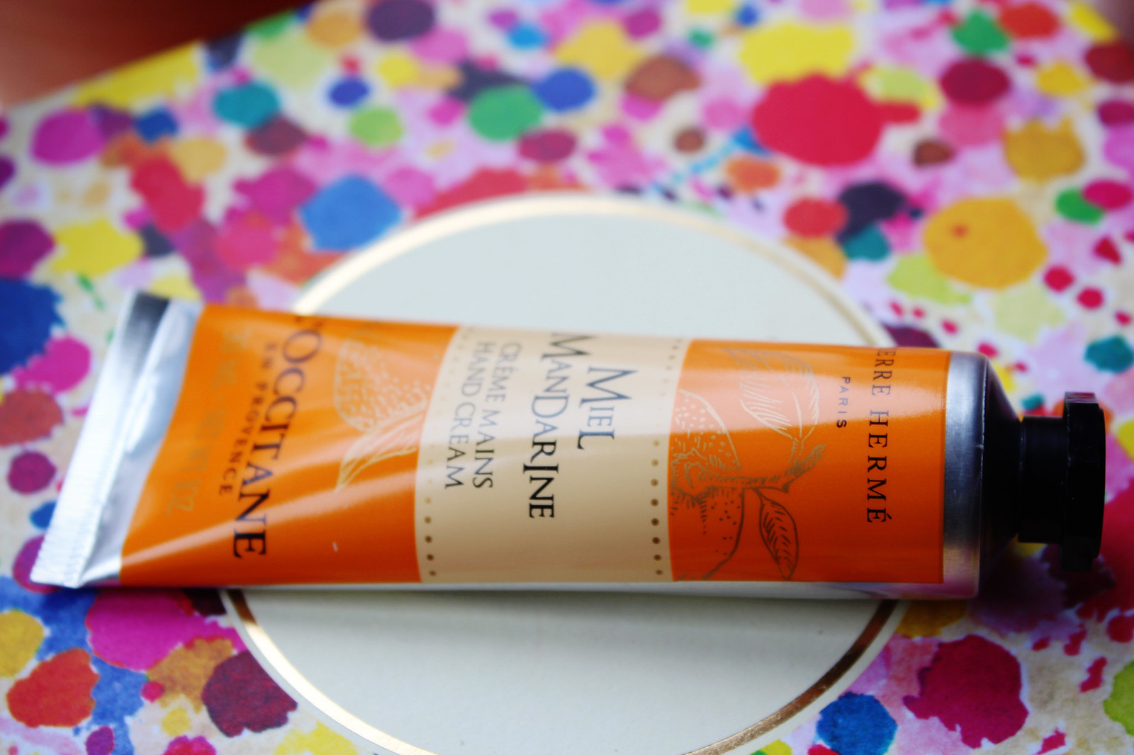 L'Ocitane hand cream with hiney and tangerines