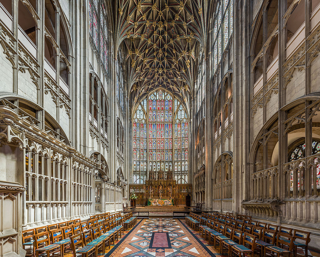 Gloucester Cathedral - The soaring stained glass windows behind the high altar. Credit: David Iliff