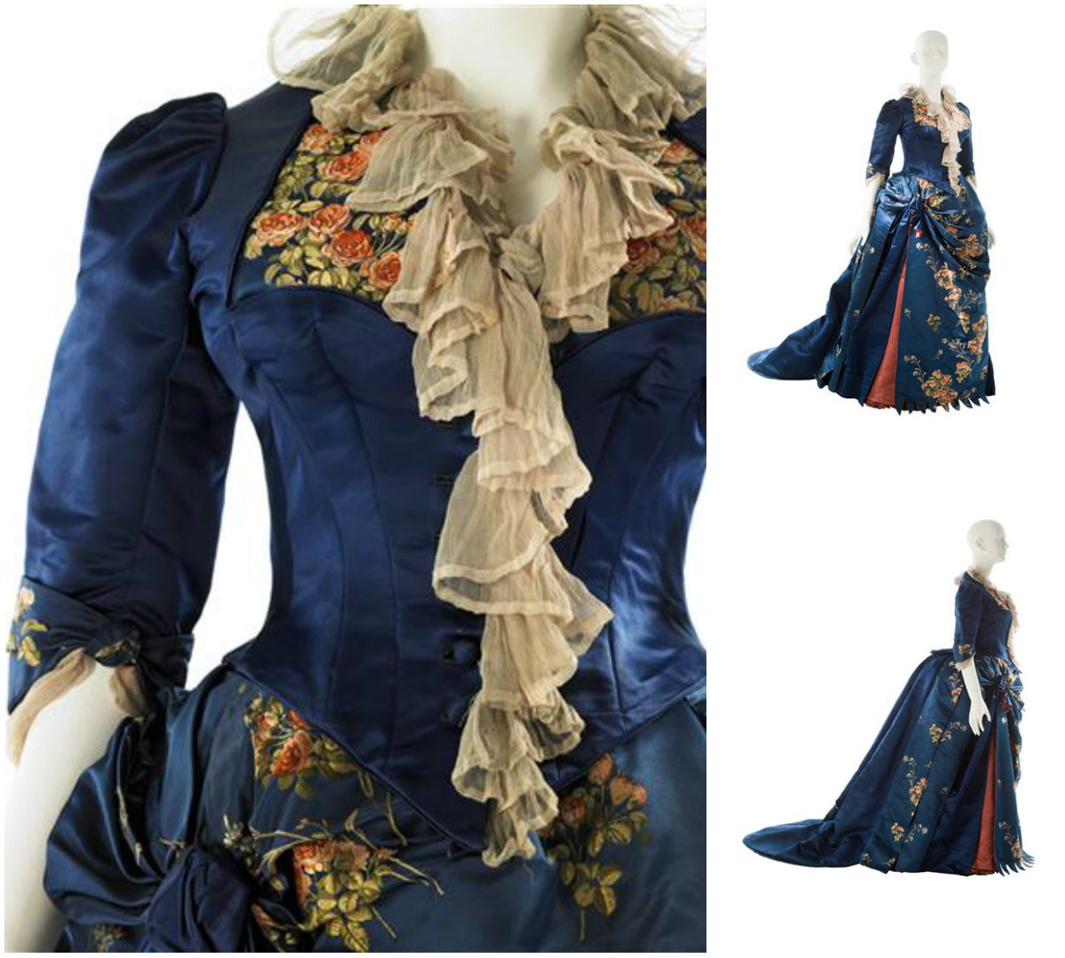 1883. Afternoon Dress. Dark blue satin; dark blue satin brocaded with bouquets of coral pink to rust colored roses and white stemmed flowers; petal pink chiffon; rust satin. Credit MCNY